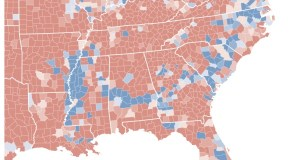 Blue counties voted Democratic in the 2008 presidential election (Map: New York Times)
