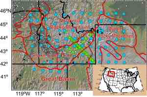 """Topography of Yellowstone-Snake River Plan study area (see inset map for location within the United States), with physiographic provinces outlined in red. USArray magnetotelluric (MT) site locations used for this study are marked with blue dots; 32 sites from the earlier Snake River Plain profiles are denoted by green dots. Smaller gray dots indicate heat flow from an earlier study by Pollack et al. (1991), ranging from 0 (white) to >300 mW/m2 (black) (Figure courtesy of Amna Kelbert; Source: Kelbert A., Egbert G.D., deGroot-Hedlin C. 2012. """"Crust and upper mantle electrical conductivity beneath the Yellowstone Hotspot Track"""" Geology, v. 40, p. 447-450, doi:10.1130/G32655.1)"""