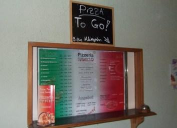 So kamen wir zur Pizza to go ...
