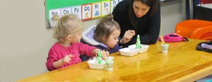 kids eating at a Christmas craft