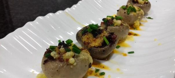 Receta de champiñones con carbonara de chorizo