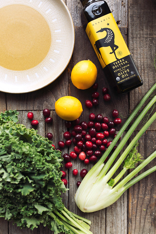 Warm Kale Salad with Roasted Fennel and Cranberry Meyer Lemon Salsa recipe