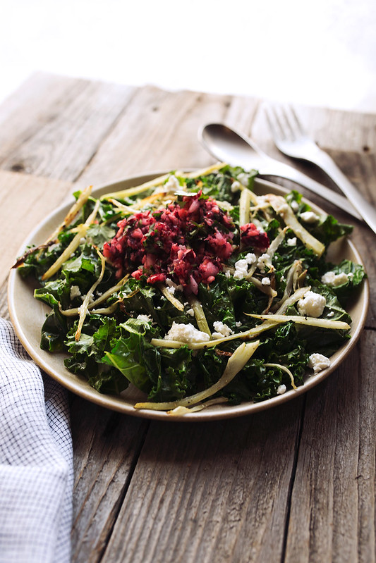 Wilted Kale Salad With Warm Mustard Shallot Vinaigrette And Spicy recipe