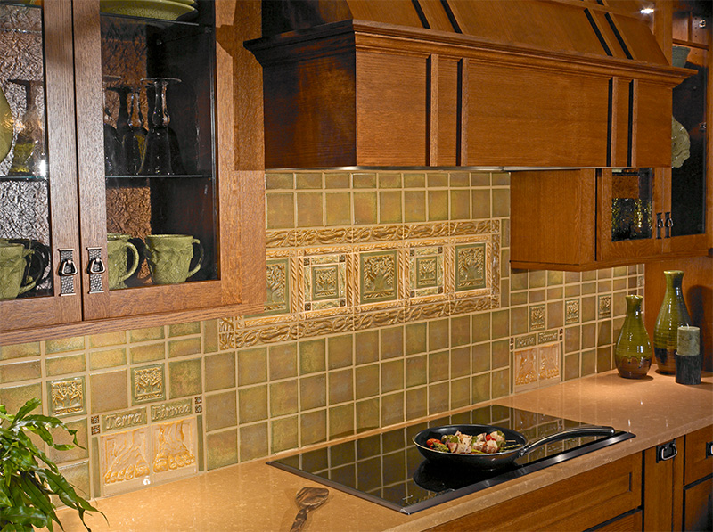 tile backsplash for kitchen painted cabinets terra firma, ltd. handmade arts and crafts ...