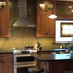 White Tile Backsplash Kitchen Black Faucet For Terra Firma, Ltd. Handmade Arts And Crafts ...