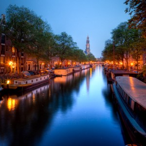 Prinsengacht to Westerkerk at night. Amsterdam. Holland