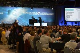 Conservative delegates on the convention floor at Calgary's BMO Centre to debate new party policy (Photo: Chris Chang-Yen Phillips)