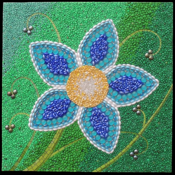 Blue Mosaic Art Flowers