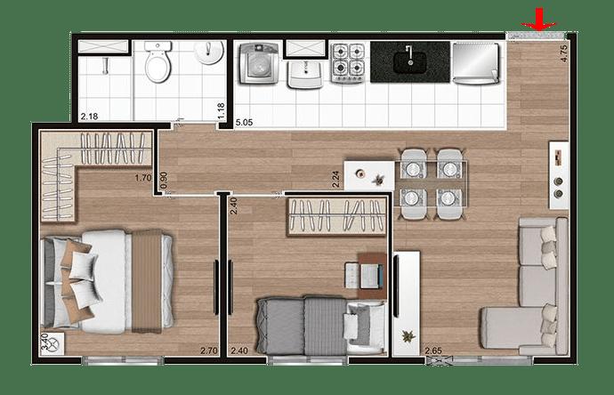 Planta com 2 Dormitórios