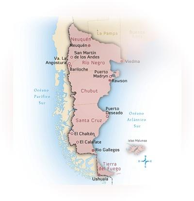 Patagonia Cartina Geografica.Oceano Atlantico Mapa Argentina
