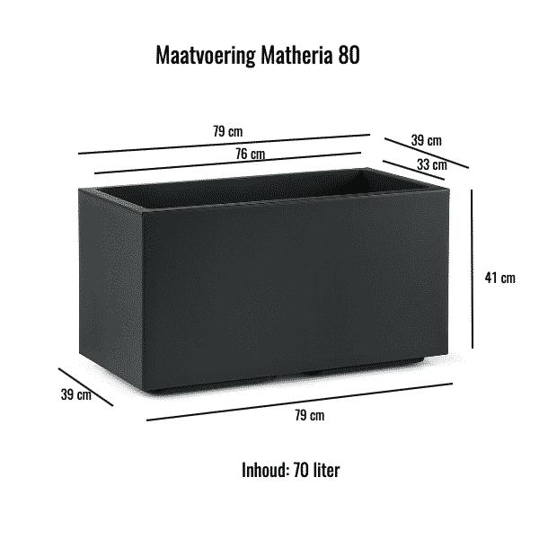 Matheria antraciet maatvoering