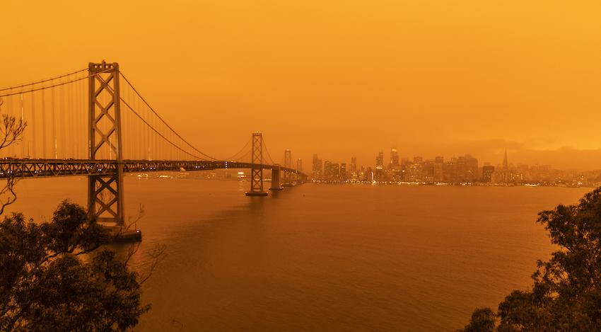 Picture orange sky over San Francisco during wildfires