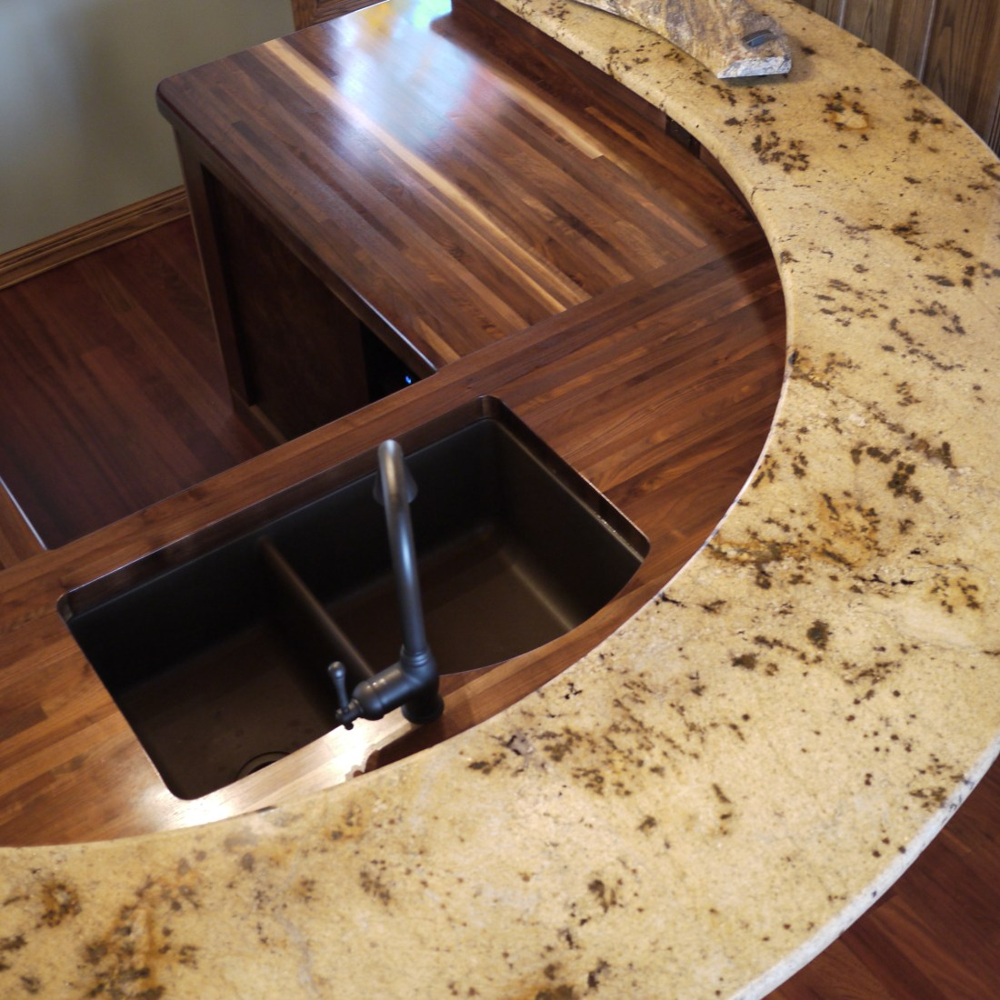 Walnut glue up countertop with variety of wood grain