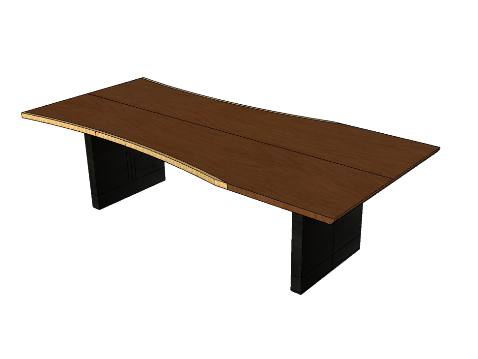 Terrawood live edge book matched cherry table design with ebonized base produced in sketch up