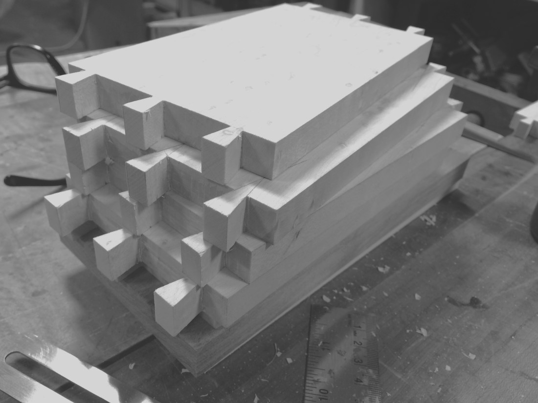 stack of 4 Birdseye maple drawer sides with prepared hand cut joinery