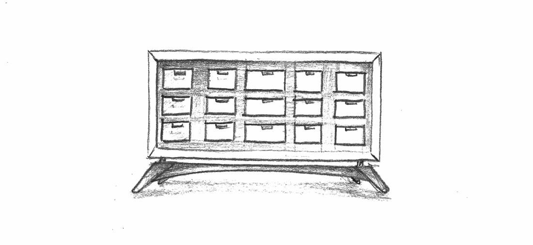 sketched pencil design for multi drawer cabinet