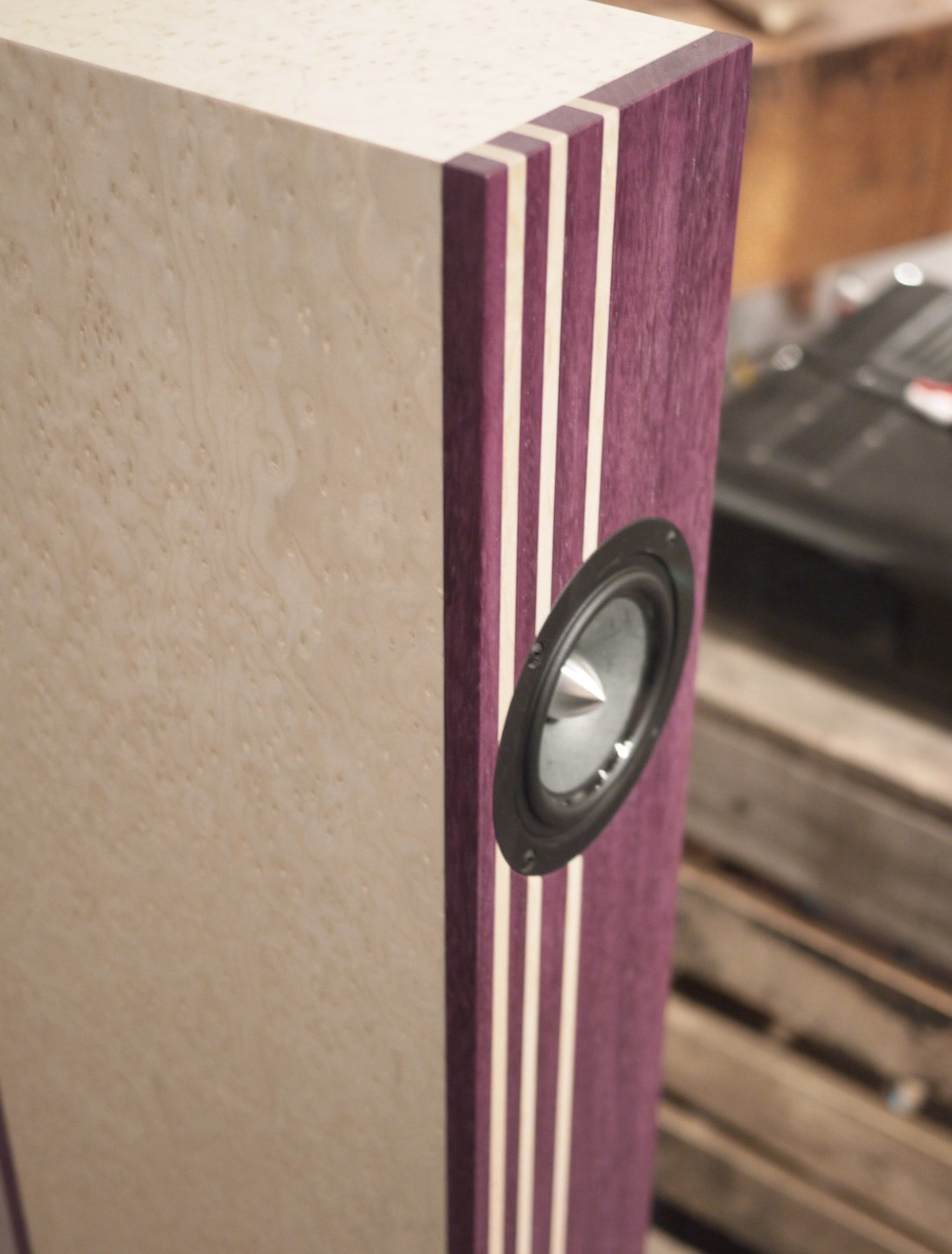 Purple Heart and Birdseye maple simplicity and attractive hand crafted custom speaker system