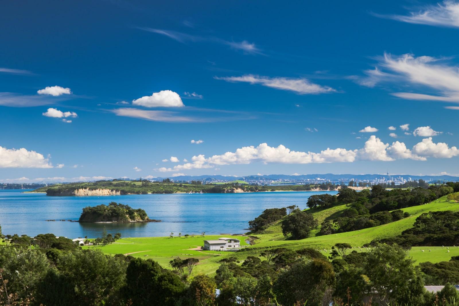 Church Bay, Hauraki Gulf, Waiheke Island, New Zealand, view from Cable Bay vineyards