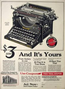 Ad for Terrence Damon Spencer's Underwood Typewriter No5