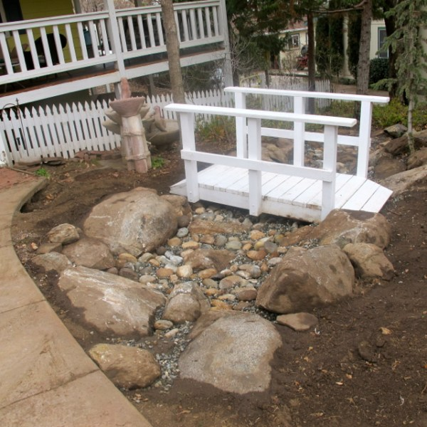dry creek bed under construction