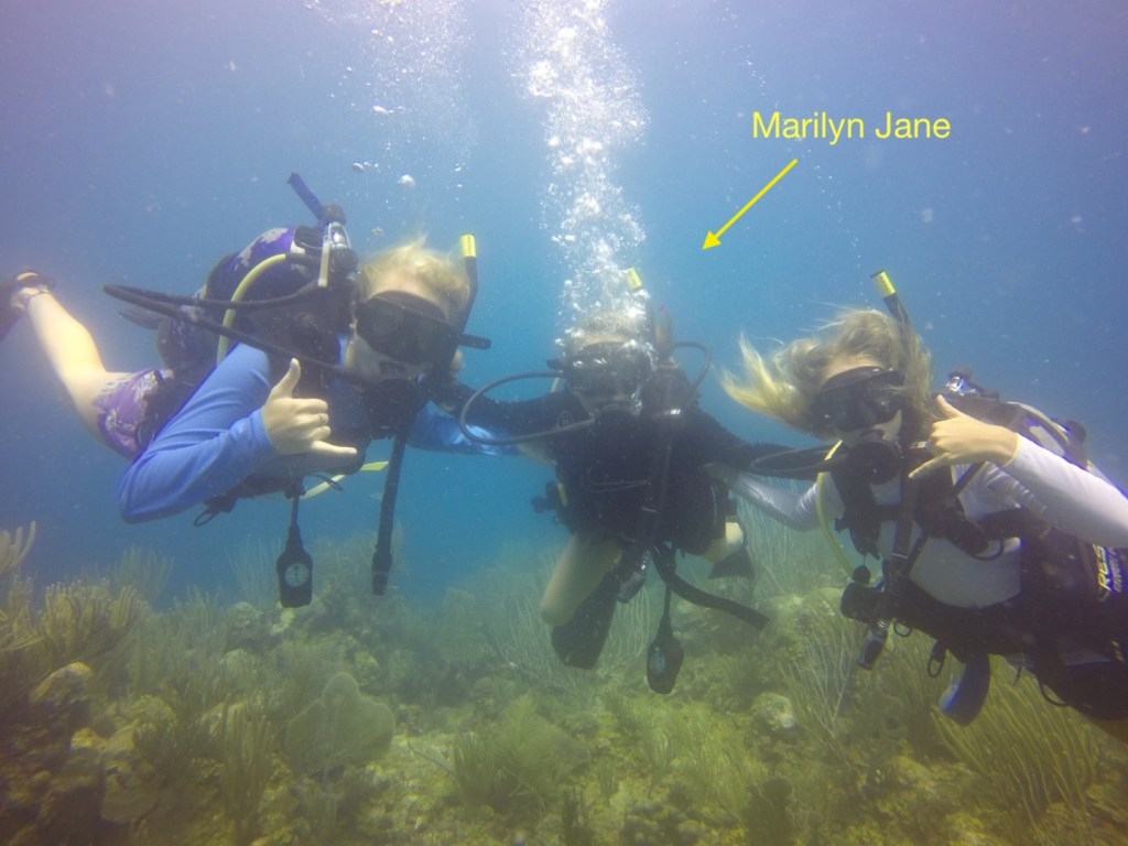 Marilyn Jane scuba diving.