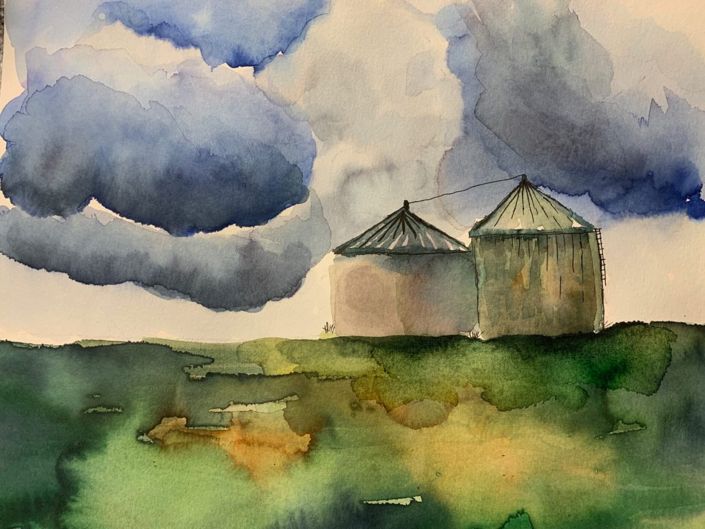 water color of clouds and grain silos
