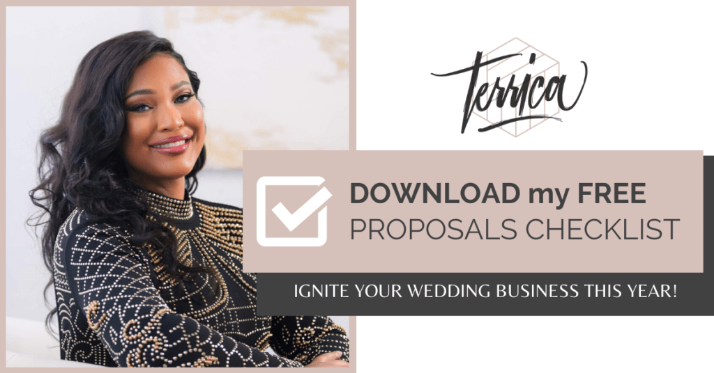 Get my Free Proposals Checklist for your Wedding Business