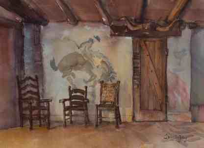 """""""Last Horse in the Stable"""" depicts the mural in the original Rillito Race Track stables. Along the door frame are halter name plates of champions from here."""