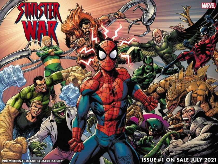 Spider-Man circondato dai suoi nemici classici e sinistri.