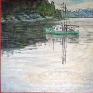 Quadra Island Boat, watercolour on wood (Mystery Art Show Revealed!)
