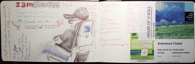 Travel journal beginnings, ballpoint pen and collage.