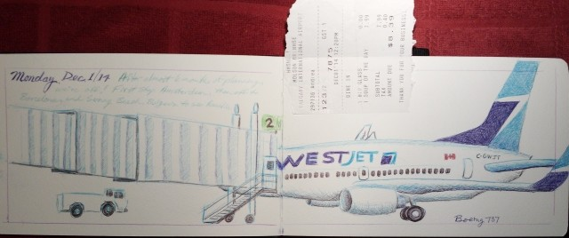 Sketch at YYJ, ballpoint pen, Moleskine journal