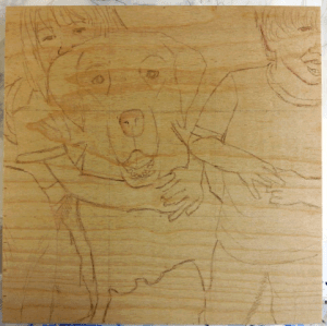 Work in progress, sketch on wood panel (Little Critter Dog Portrait)