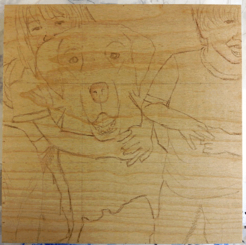 Work in progress, sketch on wood panel