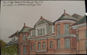 My original watercolour and ink sketch of the Cridge Centre.