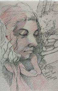 Café sketch by Rick Thomas
