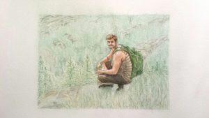 Watercolour and coloured pencil portrait.