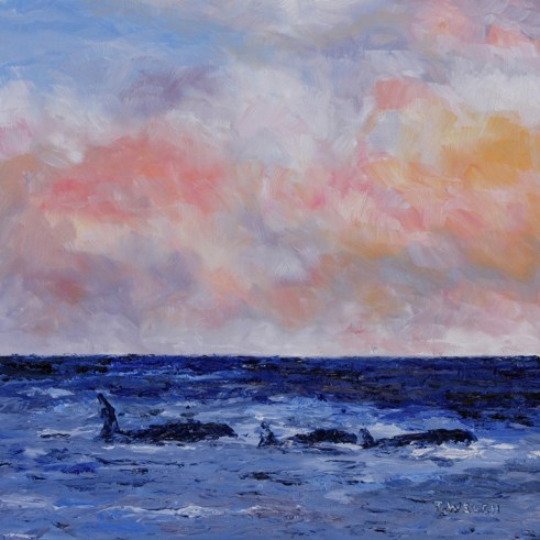 Orcas in Evening 12 x 12 inch oil on gessobord with 2 inch wood cradle by Terrill Welch IMG_4499