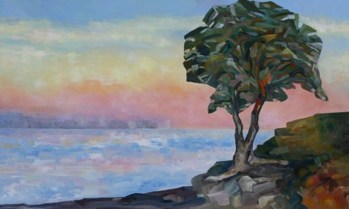 Evening and the Arbutus Tree 36 x 60 inch oil on canvas by Terrill Welch 2013_01_07 018