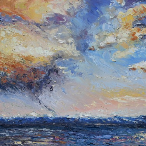 Evening Thunderclouds over the Strait of Georgia 20 x 20 inch oil on canvas by Terrill Welch 2012_12_20 025