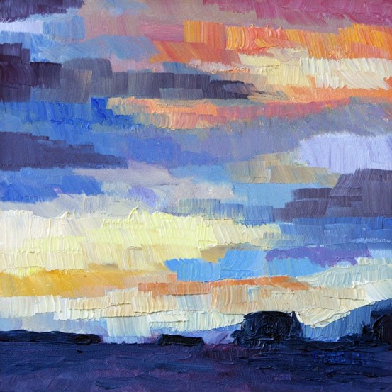 Late December Westcoast Sunrise  6 x 6 inch oil on gessobord by Terrill Welch 2013_01_12 003