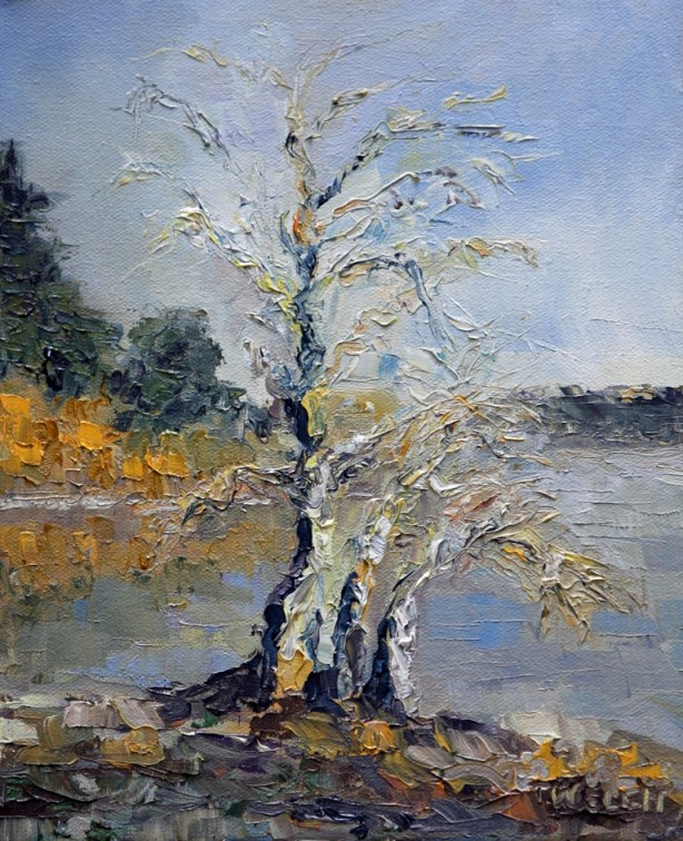Pear Trees in winter first light 10 x 8 inch oil o canvas by Terrill Welch 2013_01_25 064