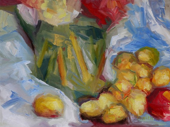 golden plums an apple and a green vase 12 x 16 inch oil on canvas by Terrill Welch 2013_08_23 058
