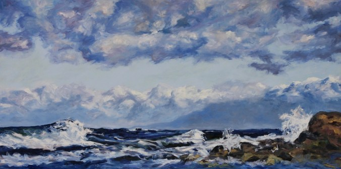 West Coast Blues rolling waves Oyster Bay 36 x 72 inch oil on canvas by Terrill Welch 2013_07_16 055