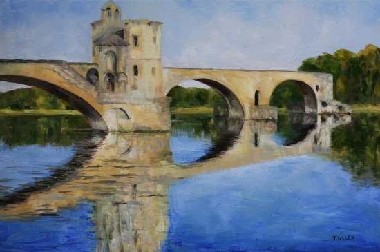 Morning by Pont d' Avignon 24 x 36 inch oil on canvas by Terrill Welch 2014_07_03 150