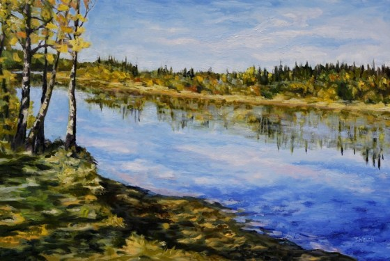 Stuart River kicking leaves 24 x 36 inch oil on canvas by Canadian landscape painterTerrill Welch 2014_11_26 005