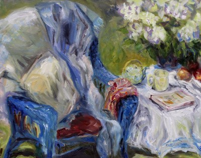 Spring Tea 16 x 20 inch oil on canvas plein air by Terrill Welch 2015_04_25 140