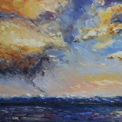 Evening Thunderclouds over the Strait of Georgia 20 x 20 inch oil on canvas by Terrill Welch 2013_05_08 017
