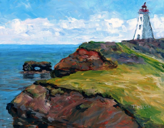Cap Egmont Lighthouse PEI 11 x 14 acrylic plein air sketch on gessoboard by Terrill Welch IMG_4102