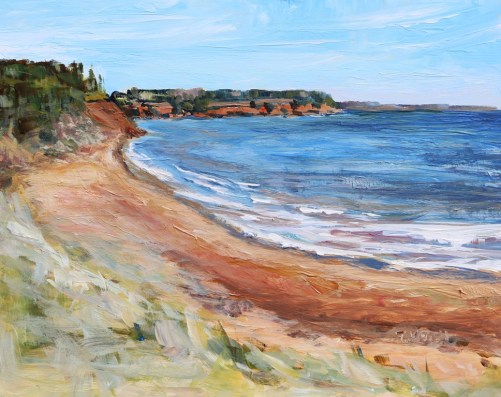 Sally's Beach PEI 8 x 10 inch acrylic plein air sketch by Terrill Welch May 24 2016 IMG_4422